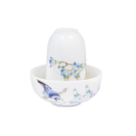 Чайная пара фарфоровая Птица на ветке - пиала и стаканчик купить за 280 руб.