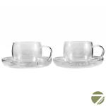 Чашка с блюдцем Анютины глазки 150 мл из жаропрочного стекла (2 пары в упаковке) купить за 660 руб.