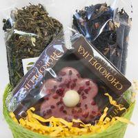 Кашпо подарочное с чаем и сладостями - Весенняя радость купить за 800 руб.