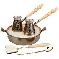 """Турецкий медный набор для приготовление кофе на песке """"Тет-а-тет"""" купить за 8107 руб."""
