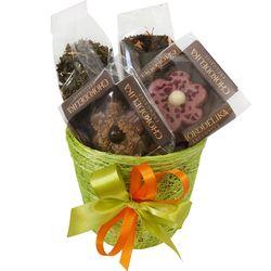 Кашпо подарочное с чаем и сладостями - Весенняя свежесть купить за 950 руб.