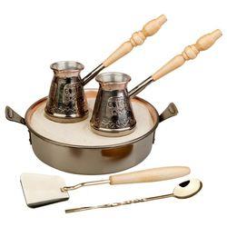 """Турецкий медный набор для приготовление кофе на песке """"Тет-а-тет"""" купить за 7370 руб."""