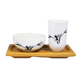 Чайная пара на подставке Бамбук (фарфор и бамбук) купить за 390 руб.