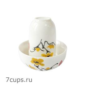 Чайная пара фарфоровая Жасмин - пиала и стаканчик купить за 280 руб.