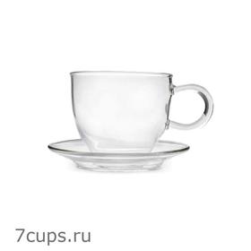 Чашка с блюдцем Утренняя роса 100 мл из жаропрочного стекла купить за 250 руб.