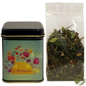 Зеленый чай Восемь сокровищ Шаолиня в подарочной банке 50 гр (8 Марта, синяя) купить за 430 руб.