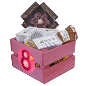 Деревянное кашпо с чаем - Подарочный набор - Нежный цветок купить за 900 руб.