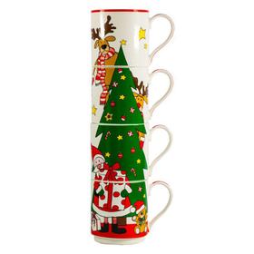 Набор из четырех кружек фарфоровых Дед Мороз и Елка, 275 мл купить за 1600 руб.