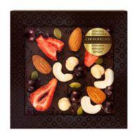 Шоколад с украшением Chokodelika темный с клубникой, миндалем, фундуком 75 гр купить за 330 руб.