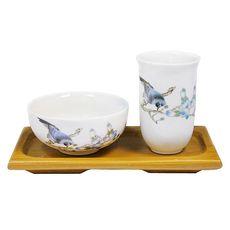 Чайная пара на подставке Птица на ветке (фарфор и бамбук)