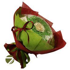 Букет из чая - Голландская роза бордо - Подарочный набор чайный букет