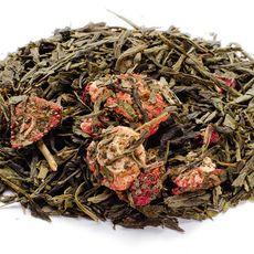Карамельная клубника 50 гр - Зеленый чай с ягодами