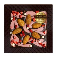 Шоколад с украшением Chokodelika темный с  клубникой и миндалем, 80 гр