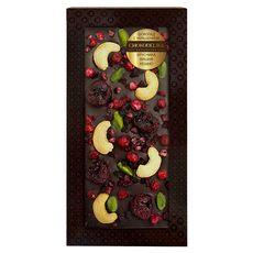 Шоколад с украшением Chokodelika темный с брусникой, вишней, кешью, 100 гр