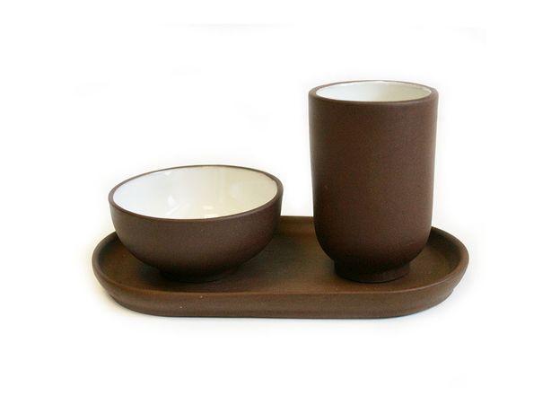 Чайная пара на подставке глиняная Коричневая