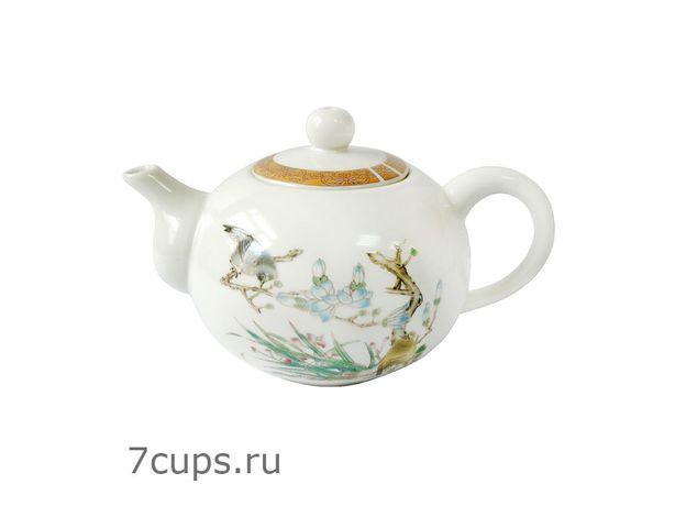 Чайник фарфоровый Птица на ветке 170 мл, изображение 2