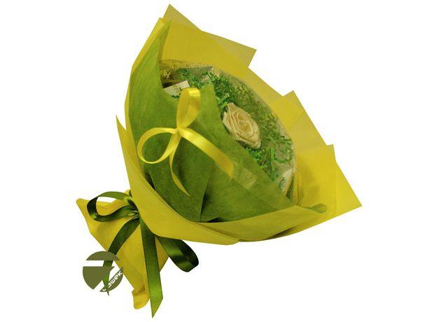 Букет из чая - Голландская роза желтая - Подарочный набор чайный букет