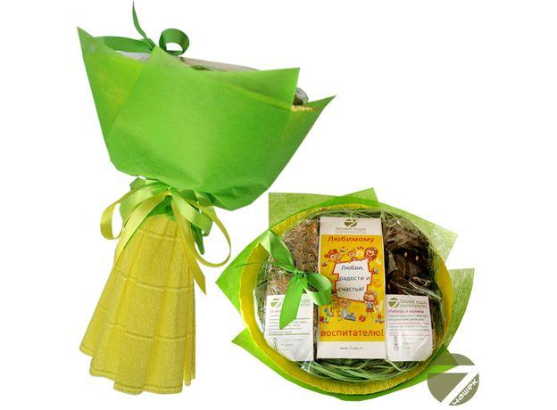 Букет из чая - Любимому воспитателю - Подарочный набор чайный букет