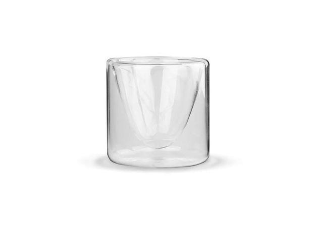 Чашка-стакан (бокал) необжигающая с двойными стенками Сакура 100 мл из жаропрочного стекла