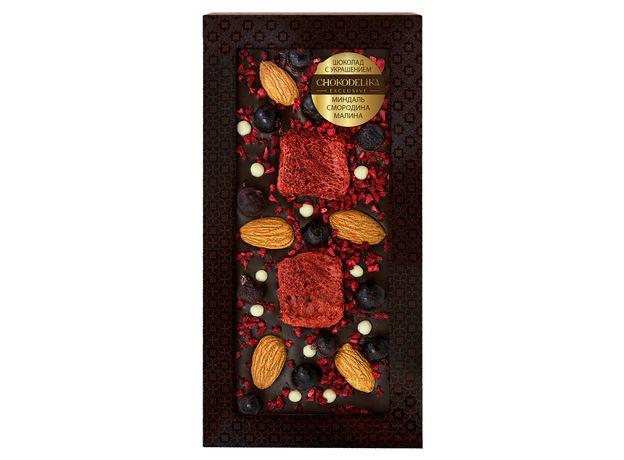 Шоколад с украшением Chokodelika темный с украшением  миндаль, малина, смородина 100 гр
