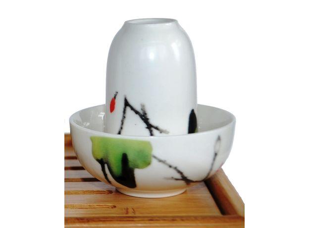 Чайная пара фарфоровая Журавли - пиала и стаканчик, изображение 2