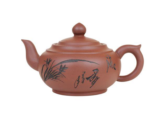 Глиняный чайник Птицы среди цветов 350 мл