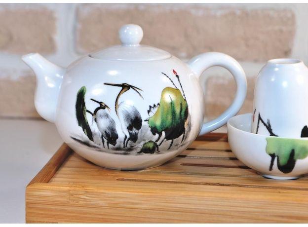Чайник фарфоровый Журавли 170 мл, изображение 3