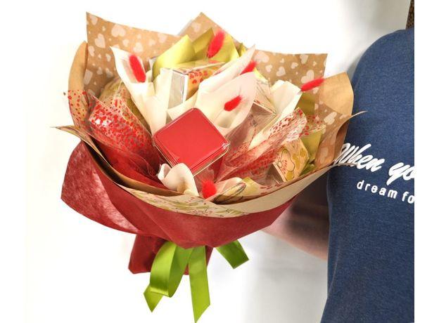 Букет из чая и кофе - Калина красная - Подарочный набор чайно-кофейный букет, изображение 3
