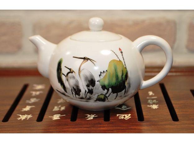 Чайник фарфоровый Журавли 170 мл