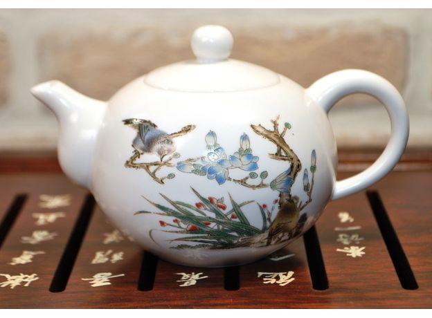 Чайник фарфоровый Птица на ветке 170 мл