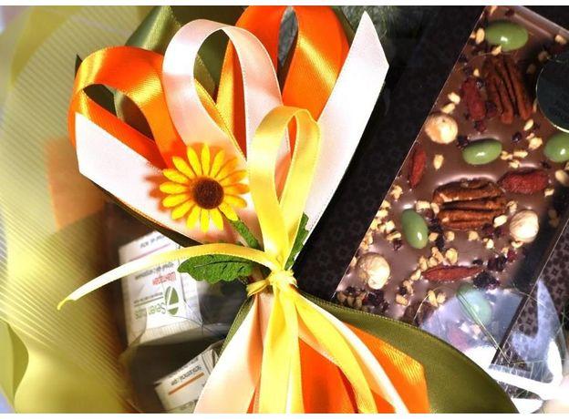 Букет из чая и кофе - Подсолнух - Подарочный набор чайно-кофейный букет, изображение 3