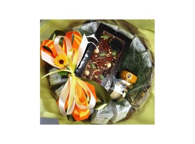 Букет из чая и кофе - Подсолнух - Подарочный набор чайно-кофейный букет, изображение 5