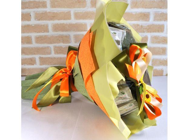Букет из чая и кофе - Подсолнух - Подарочный набор чайно-кофейный букет, изображение 2