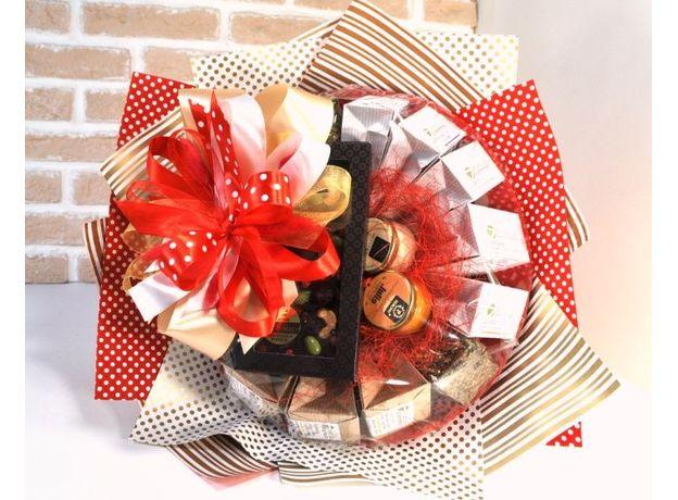 Букет из чая и кофе - Розовый куст  - Подарочный набор чайно-кофейный букет, изображение 3