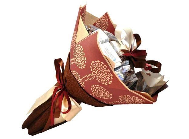 Букет из чая и кофе - Южный каштан - Подарочный набор чайно-кофейный букет