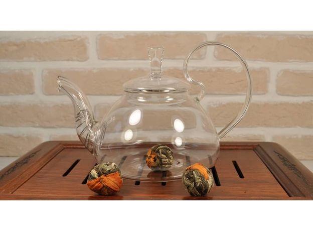 Чайник из жаропрочного стекла Жасмин 1200 мл, изображение 2