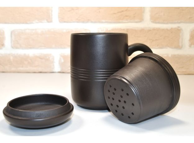 Кружка глиняная Традиционная с колбой для заваривания и крышкой 350 мл, изображение 2